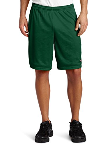 Champion Men's Long Mesh Short with Pockets, Dark Green, ()