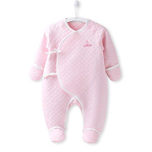 COBROO Newborn Infant Baby Girls Warm Long-Sleeve Footie Bodysuit Onesies 100% Cotton, Pink (Warmer Body Cotton)