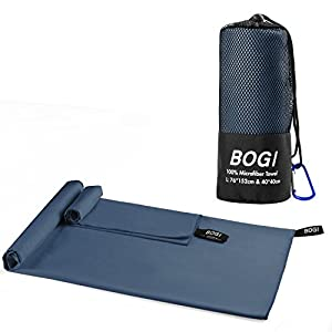 BOGI Microfiber Travel Sports Towel-(M:40''x20'')-Dry Fast Soft Lightweight Absorbent&Ultra Compact-for Camping Gym Beach Bath Yoga Backpacking Fitness+Gift Bag&Carabiner(M:Nblue)