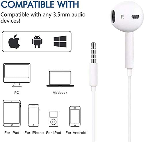 2 Pack-Apple Headphones/Earphones/Earbuds with 3.5mm in Ear Wired Headphone Plug [Built-in Microphone & Volume Control] [Apple MFi Certified] Compatible with iPhone,iPad,iPod,Android,Laptops,MP3/4 41K2 2BFP3 2BxL