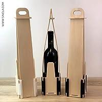 Pack de 3 Estuches para Botella de Vino - En Madera y plástico - Montaje Manual Tipo puzle - Ideal para Regalar Vino: Amazon.es: Hogar