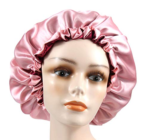 Adjustable Satiny Sleep Cap Hair Bonnet Double Layered Reversible for Women Protective Sleep Hairstyles (Burgundy-Shell Pink) ()