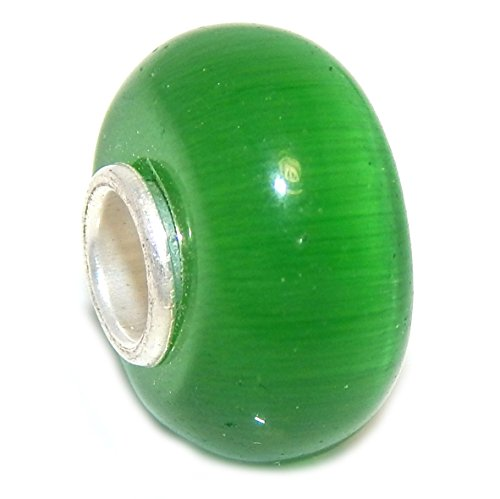 Pro Jewelry 925 Solid Sterling Silver Dark Green Cat Eye Glass Charm Bead 0001
