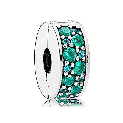 Romántico Amor Fit Pandora Charm Bracelet Shining Elegance Clip Stopper Charm Green CZ Silver Bead ()