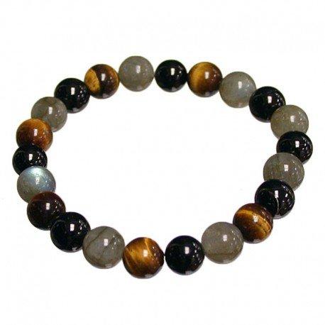 Bracelet protection: oeil de tigre, labradorite, tourmaline noire (boules 8mm) La Boite à Cailloux BRA-MULT-63
