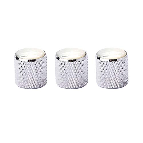 Healifty 3pcs Metal Effect Pedal Control Amplifier Knobs with White Pearl Shell for Electric Guitar Bass (White)