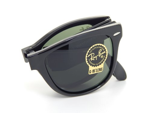 Ray Ban Folding Wayfarer RB4105 601 Black/Crystal Green 54mm - Sunglasses Round Ban Wayfarer Ray