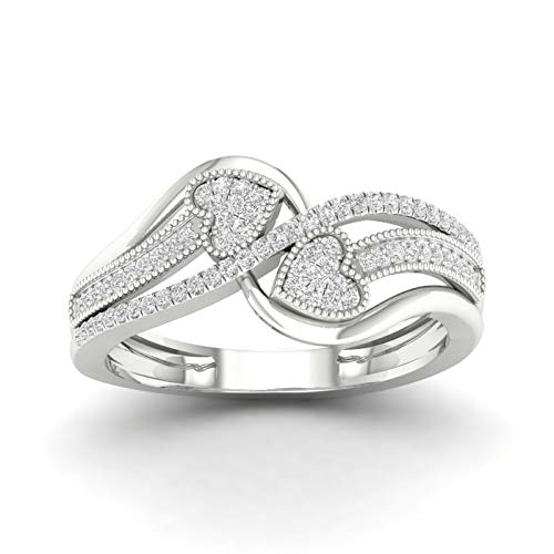 10k Yellow Gold Diamond double Heart Engagement Ring Size 8 (0.20ct/I2,H-I) Ideal Gifts For Women (20 Carat Diamond Ring)