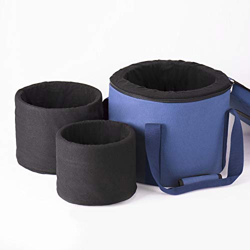TOPFUND Blue Heavy Duty Sponge Padded Crystal Singing Bowl Case for 12 inch, 10 inch and 8 inch Triple Sound Bowls