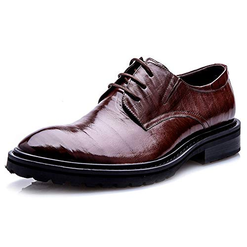 Derby Schuhe Schnürschuhe Männer spitz Schuhe Brown