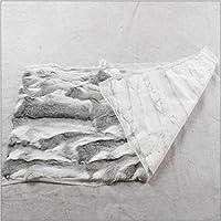 Real Rabbit Fur Blanket Throw Fur Carpet Rug Skin Pelz Leather Black 200x200cm