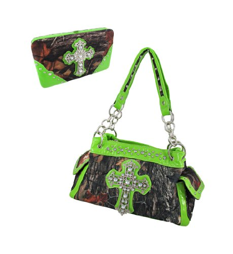 Deep Forest Camouflage Rhinestone Cross Purse / Wallet Set Lime Green Trim (Green Lime Camo Purse)