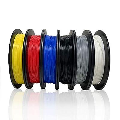 Dikale PLA 3D Printer Filament(6 Assorted Colors, 500g per Spool, 6 Spools), 1.75mm, Dimensional Accuracy +/- 0.02 mm(Suitable for Ender 3 3D Printer etc)