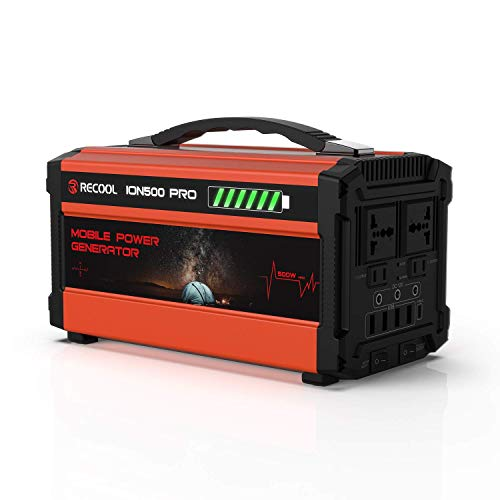 RECOOL 700W/460Wh Powerful Portable Generator, 144000mAh Solar Lithium Battery Backup Power Station, 110V AC Outlets, DC Ports, USB/Type-C for Outdoor RV Camping CPAP Home Emergency RECOOL