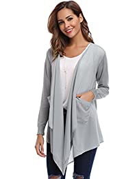 Abollria Womens Chiffon Front Knit Back Lightweight Long Sleeve Pocket Cardigans