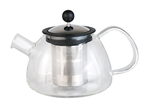 BergHOFF Studio Glass Tea Pot with 18-10 Stainless Steel Infuser, Clear
