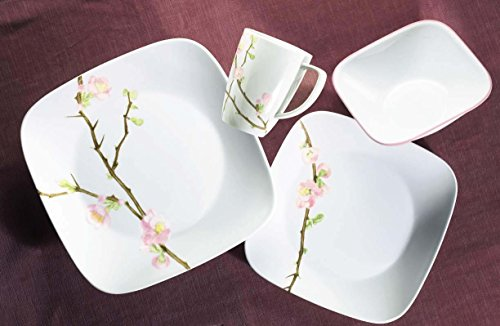 Amazon.com | Corelle Cherry Blossom Square Dinnerware Set (Serves 4) 16pc Multicolored Dinnerware Sets & Amazon.com | Corelle Cherry Blossom Square Dinnerware Set (Serves 4 ...