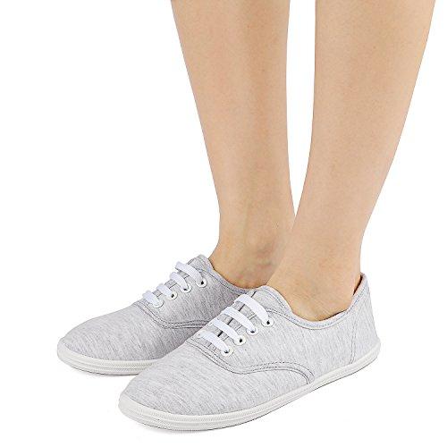 Tenis de Básicos Disponibles de de Mujeres Atléticos para Zapatos Deporte Arriba Atan 8 Zapatillas Las de Odema Colores Lona Gris wYUxqPU7