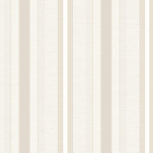 York Wallcoverings Ronald Redding 18 Karat II Pearlescent Beige and Metallic Gold Boxhill Stripe Wallpaper