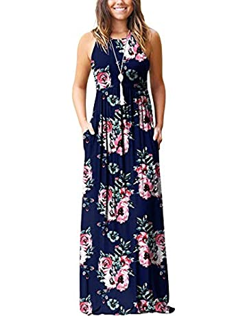 2355ef12fe015 PCEAIIH Women's Sleeveless Racerback Loose Plain Maxi Dresses Casual Long  Dresses with Pockets