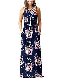 PCEAIIH Women's Short/Long Sleeve Loose Plain Long Maxi Casual Dresses with Pockets