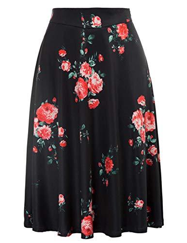 Kate Kasin Flared Stretchy Midi Skirt High Waist Jersey Skirt for Women (XXX-Large,Black flower2) ()