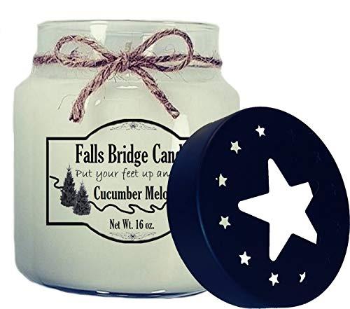 Cucumber Melon 16 Oz Jar - Falls Bridge Candles Cucumber Melon Scented Jar Candle, 16-Ounce, w/Star Lid