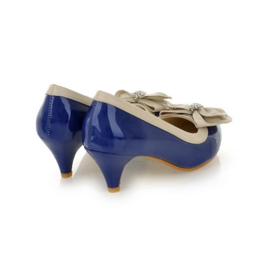 6 Pointed Stiletto Darkblue US Rhinestone Closed Females with PU B 5 Solid Pumps WeenFashion and Bowknot M Toes qgF4xxO