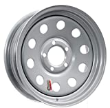 "Southwest Wheel 15"" x 5"" Silver Modular Trailer Wheel (5-4.5 Bolt Circle) with Center Cap and Valve Stem"