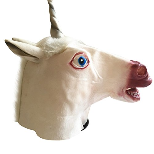 Tinksky Creepy Unicorn Head Latex Mask Halloween Costume Theater Prank Prop Crazy Masks for halloween horror nights (Crazy Halloween Pranks)