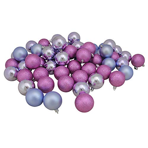 """Northlight 31744288 60 Count Pink Lavender Shatterproof 4-Finish Christmas Ball Ornaments, 2.5"""""""