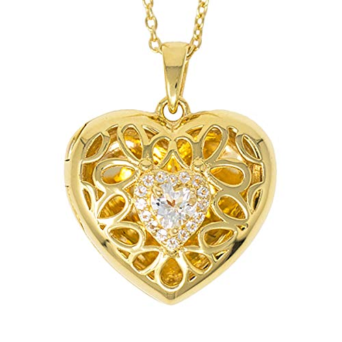 - With You Lockets-Fine Yellow Gold-Custom Photo Heart Locket Necklace-That Holds Pictures for Women-The Katharine