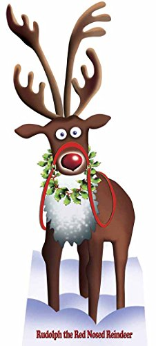 Star Cutouts SC90 Cardboard Cutout Official Lifesize Christmas Decoration Rudolph The Red Nose Reindeer Perfect for Grottos and Festive Displays Including Shops Height -