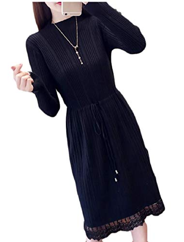 AU Dress Sleeve Autumn Slim Fit Knit Long Sweater Midi Black Lace Sodossny Women Hem q7dwqa