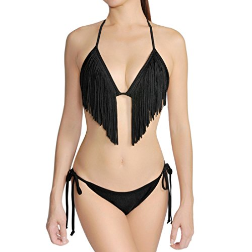 Cloris Murphy Wonderbra Push Up Fringed Sexy Bikini Swimsuit Set, Black, S