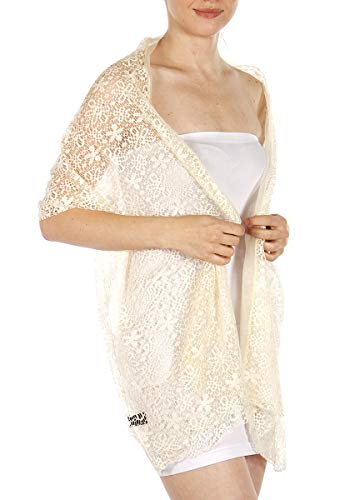 Evening Shawls And Wraps for Dresses, Lightweight Metallic Fishnet Scarf, Lurex diamond fishnet shawl, Flower Cream