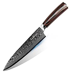 LauKingdom Damascus Chefs Knife, 8-inch Japanese VG10 & 67 Layers High carbon stainless Steel Blade