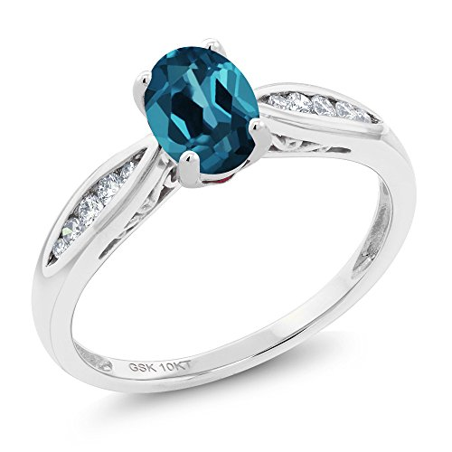 Gem Stone King 10K White Gold 0.97 Ct Oval London Blue Topaz and Diamond Engagement Ring (Size 5) (London Blue Topaz And Diamond Engagement Ring)
