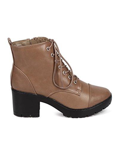 Leatherette Toe Heel Women Cap Combat Lace Boot Breckelles Beige Breckelles Up Block DD71 xSwnqA14X