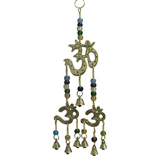 Cheap Brass Three Om/Ohm Yoga Meditation Feng Shui Decorative Good Luck Home and Garden Wall Hanging Seven Wind Bell Chime w/Beads