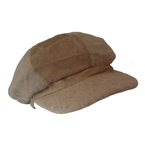 Women's Cinnamon Beige Angora Wool Blend Newsboy Cabbie Hat - Womens Angora Blend