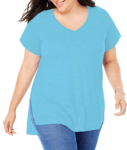 Women Plus Size Short Sleeve T Shirt Basic Tee Tops High Low Loose Shirts with Side Split (001-Lake Blue, 2X-Large)