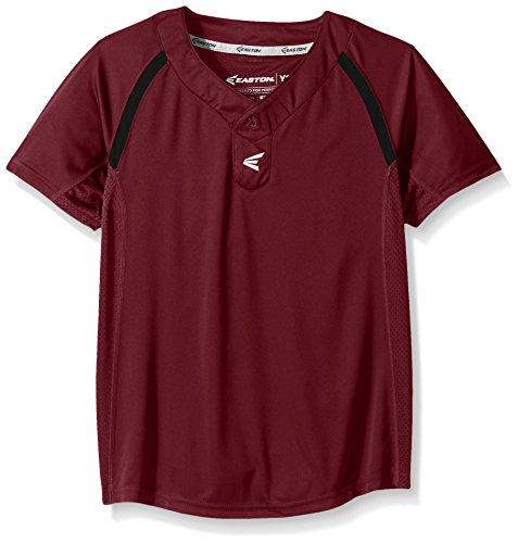 Easton Boys M7 Two Button Homeplate Jersey, Maroon/Black, Small