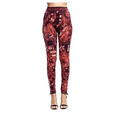 Excursion Clothing Womens Full Length Leggings Fake Jeans Print High Waist Tummy Control Butt Lifting Casual Yoga Pants