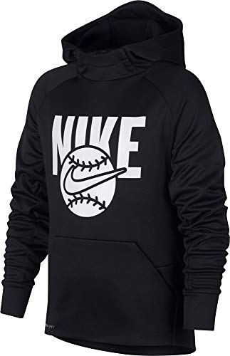 - Nike Boy's Baseball Pullover Hoodie (Black, Large)