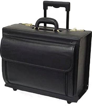 Leather Rolling Business Case Mancini Deluxe Wheeled Catalog Case