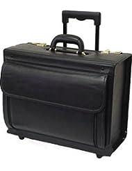 Black Leather Wheeled Catalog Case (#1855-0)