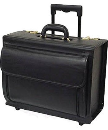 Image of Luggage Black Leather Wheeled Catalog Case (#1855-0)