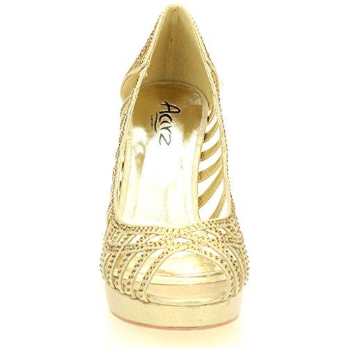 Frau Damen Abend Hochzeit Party Hoch Ferse Stiletto Diamante Braut Sandale Schuhe Größe (Gold, Silber, Schwarz) Gold