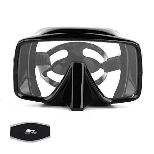 Diving Goggles, Optimum Diving Mask, Scuba Diving, Snorkeling Mask, Tempered Glass Lens,Anti Fog and Anti Leak, for Women Men Kids Adults Free Diving Swimming (Broad View)